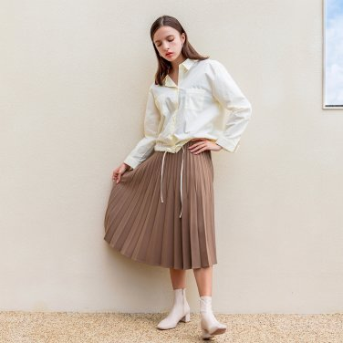Pleated Long Side Zipper Skirt Brown(2019FSK320_02)