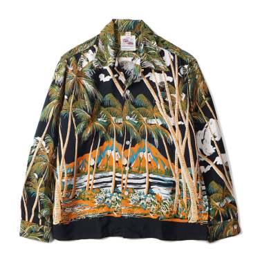 DUKE KAHANAMOKU Coconutpalms & Diamond Shirt Black