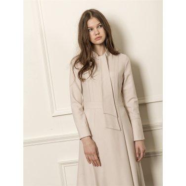 [까이에] Tie-neck wool dress