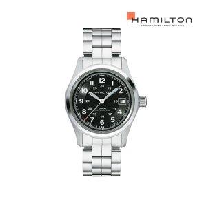 H70455133 카키 필드 오토 38mm 블랙 메탈 남성 시계