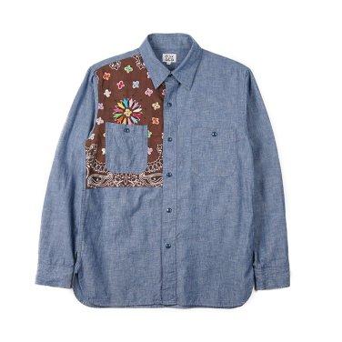 OAXACA Chambray Bandana Shirt Blue/Brown Bandana