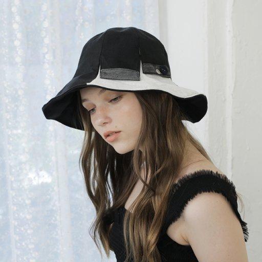 Button detail bell hat - Black