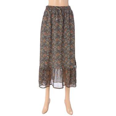 [여성]변형 페이즐리 패턴 셔링 스커트(T196MSK131W)