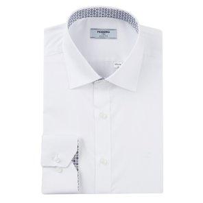 줄도비 카라프린트배색 슬림핏 셔츠 RJFSL0106WHIL