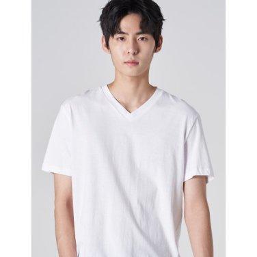 남성 화이트 베이직 코튼 브이넥 반소매 티셔츠 (429742LY51)