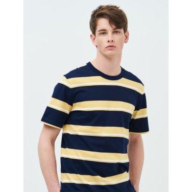 [Online Exclusive] Unisex 옐로우 멀티 스트라이프 로고 자수 티셔츠 (BC9342N09E)