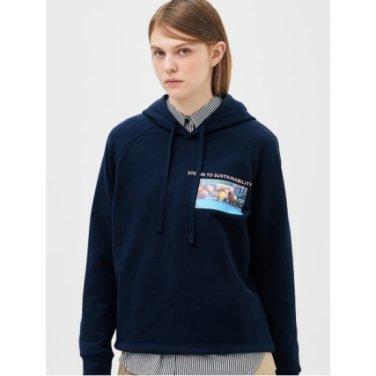 [Online Exclusive] 네이비 그래픽 후드 스웨트 티셔츠 (BF9241N01R_)