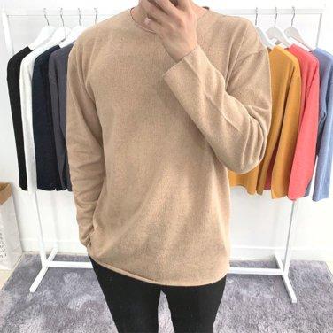 남성 오버핏 라운드 빈티지 커팅 긴팔 티셔츠_T0441