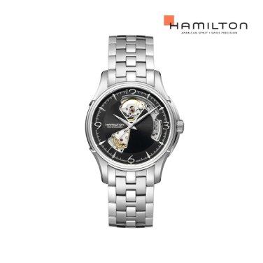 H32565135 재즈 오픈하트 오토 40mm 블랙 메탈 남성 시계