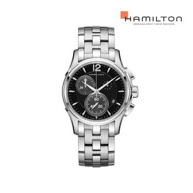 H32612131 재즈마스터 크로노 쿼츠 42mm 블랙 다이얼 브레이슬릿 남성 시계