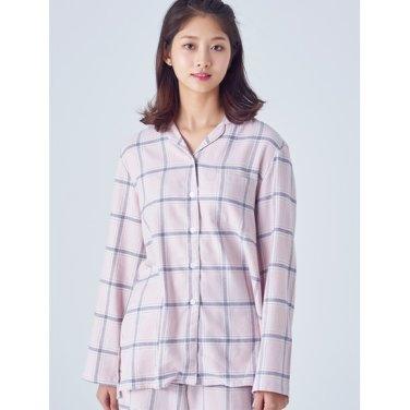 여성 [파자마 시리즈] 라이트 핑크 플란넬 체크 파자마 셔츠 (158964SYAY)