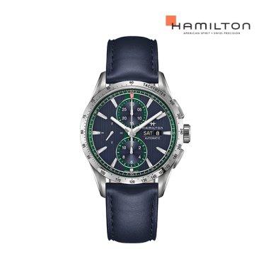 H43516641 브로드웨이 오토 크로노 43mm 블루 가죽 남성 시계