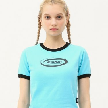 Ringer circle logo crop T-shirts light blue