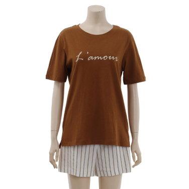 레터링 라운드 티셔츠 OW9AE144-EL3