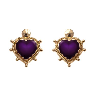 deep heart purple earrings