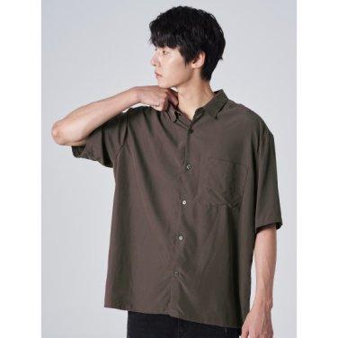 남성 브라운 모달 포켓 슬릿 반소매 셔츠 (269765DY2D)