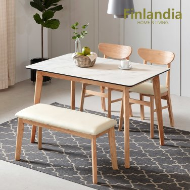 핀란디아 데니스 4인 세라믹 식탁세트(의자2벤치1)