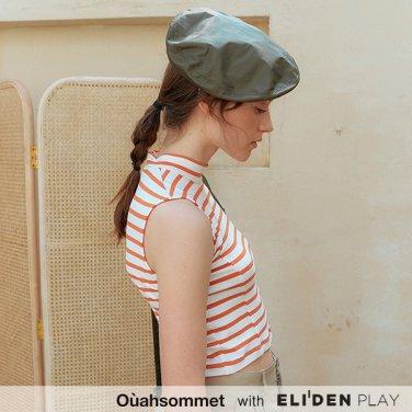 [우아솜메] Ouahsommet Stripe Sleeveless Crop Top_OR (OBFTT002A)
