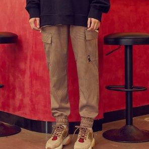 (PT-19544) CHECK CARGO JOGGER PANTS BROWN