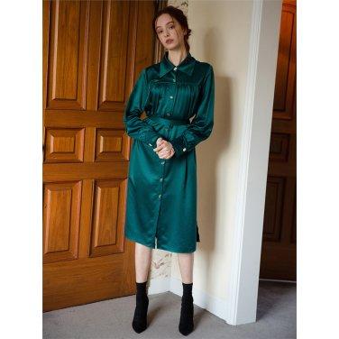 [일루스트리스일루전] GREEN SATIN DRESS