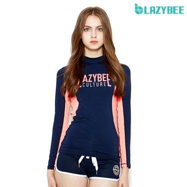 [LAZYBEE] 리파인 2101 여성 래쉬가드 - 네이비/코랄