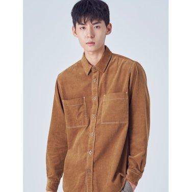 남성 베이지 코듀로이 스티치 투포켓 셔츠 (258X64SY4A)