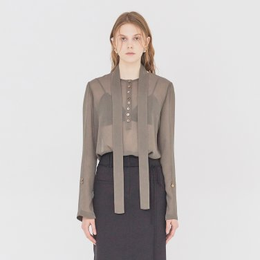 19SS SHEER BLOUSE WITH BELT - MAJOR BROWN