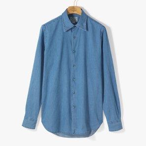 [ORIAN]DENIM SHIRT WASHED BLUE/OR01M40000A81