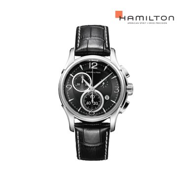 H32612735 재즈마스터 크로노 쿼츠 42mm 블랙 가죽 남성 시계