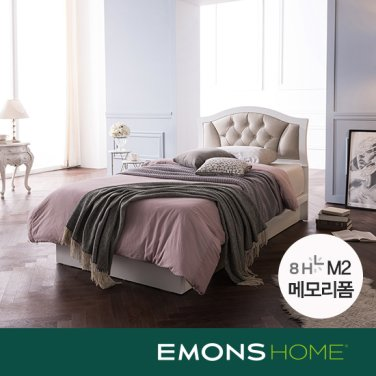 [에몬스홈]로메로 가죽헤드 평상형 침대 SS(8H M2 메모리폼)