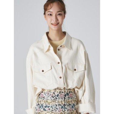 여성 아이보리 코튼 오버사이즈 아웃 포켓 셔츠 (169764KY10)