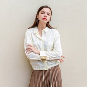Cotton Pleat Drawstring Shirt Cream-yellow(2019FST320_01)