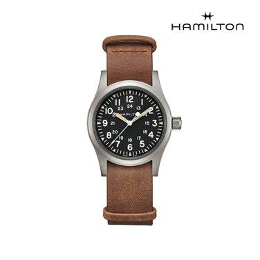 H69439531 카키 필드 메커니컬 38mm 블랙 다이얼 브라운 가죽  남성 시계