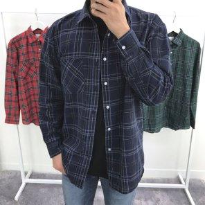 남성 오버핏 체크 원포켓 코튼 셔츠_SH0163