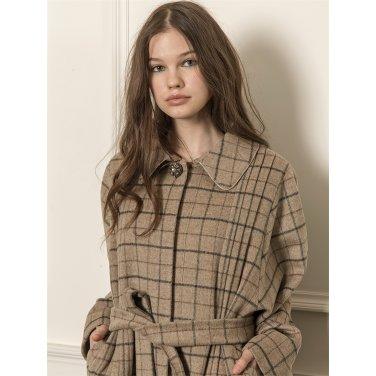 [까이에] Dolman sleeve checked wool-blend coat