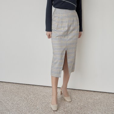 CHECK TUCKED SKIRT_SKY BLUE