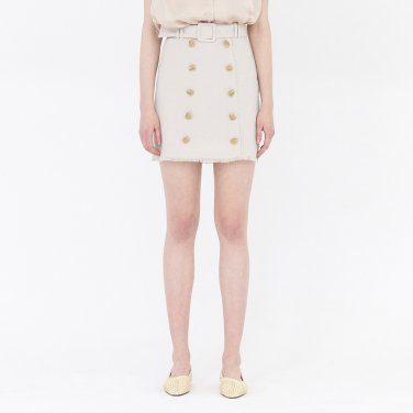 19SS BUTTON-FRONT MINI SKIRT WITH BELT - CREAM