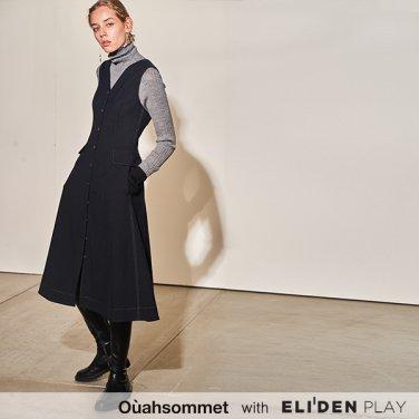 [우아솜메] Ouahsommet SLIM-FIT WOOL DRESS [NAVY] (OBBOP002A)