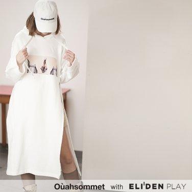 [우아솜메][나혜미 착용] Ouahsommet ZIP-UP HOODIE ONEPIECE [WHITE] (OBBTO001A)