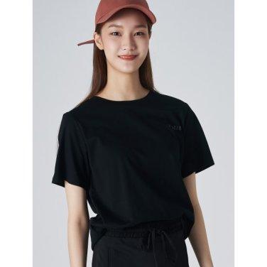 여성 블랙 코튼 포인트 레터링 프린팅 반소매 티셔츠 (119742BYC5)