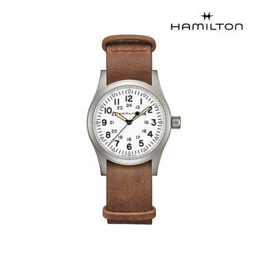 H69439511 카키 필드 메커니컬 38mm 화이트 다이얼 브라운 가죽 남성 시계