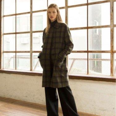 Wool Check Coat - Khaki