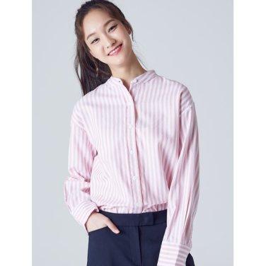 여성 핑크 볼드 스트라이프 헨리넥 셔츠 (328864CY2X)