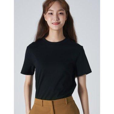 여성 블랙 솔리드 베이직 라운드넥 티셔츠 (329742LYA5)