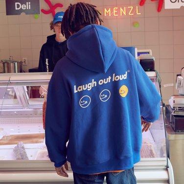 [RLOL] (HD-19704) RLOL SMILE HOOD T-SHIRT BLUE