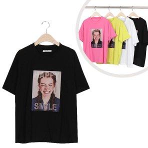 라운드 스마일 프린팅 반팔 티셔츠 (ALEWT070)