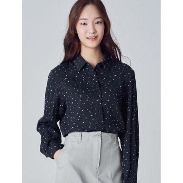 여성 네이비 투톤 페인트 패턴 셔츠 (158X64WY2R)