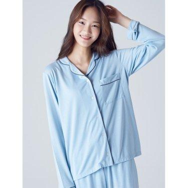 여성 [파자마 시리즈] 스카이 블루 파이핑 파자마 티셔츠 (158941SYAQ)
