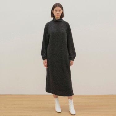 Turtleneck Knit Dress - Charcoal Gray