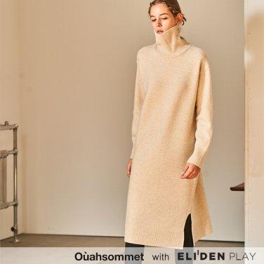 [우아솜메] Ouahsommet CASHMERE TURTLE-NECK KNIT DRESS [BEIGE] (OBBKO001A)